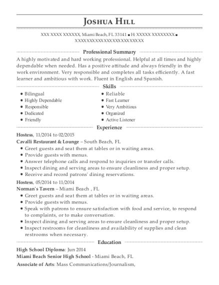 Hostess resume format Florida