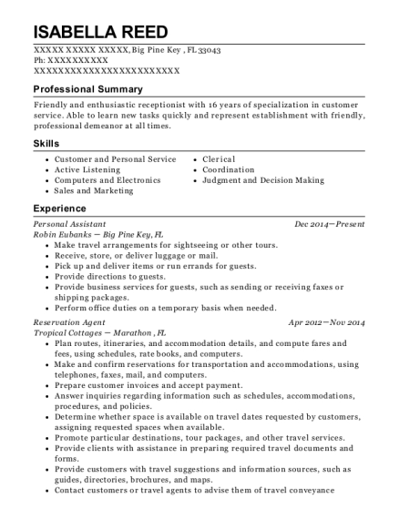 Personal Assistant resume sample Florida