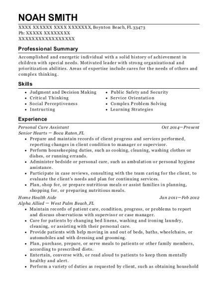 Personal Care Assistant resume example Florida