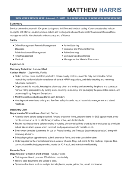 Pharmacy Technician Non certified resume template Florida