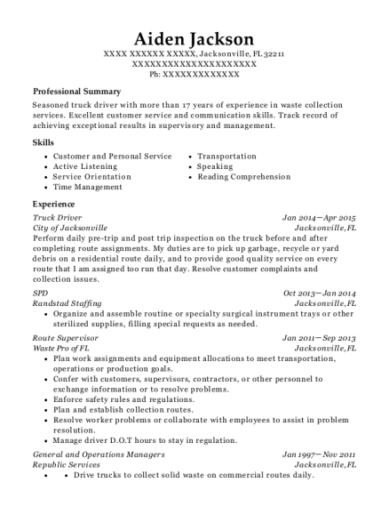 Truck Driver resume example Florida