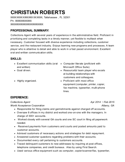 Collections Agent resume format Florida