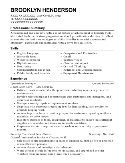 Operations Manager resume format Florida