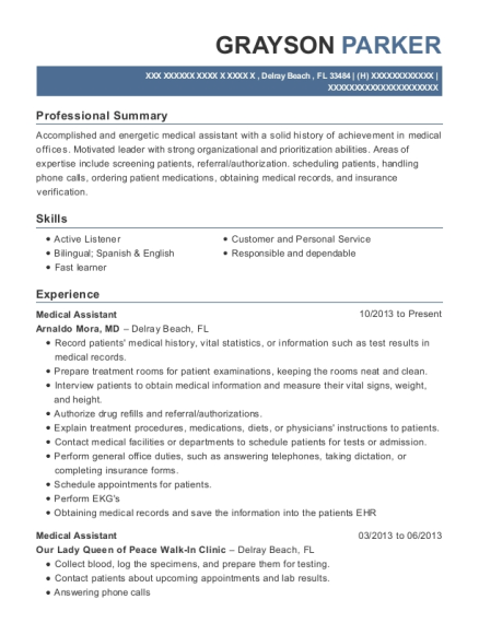 Medical Assistant resume example Florida