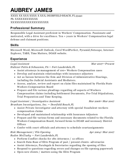 Legal Assistant resume format Florida