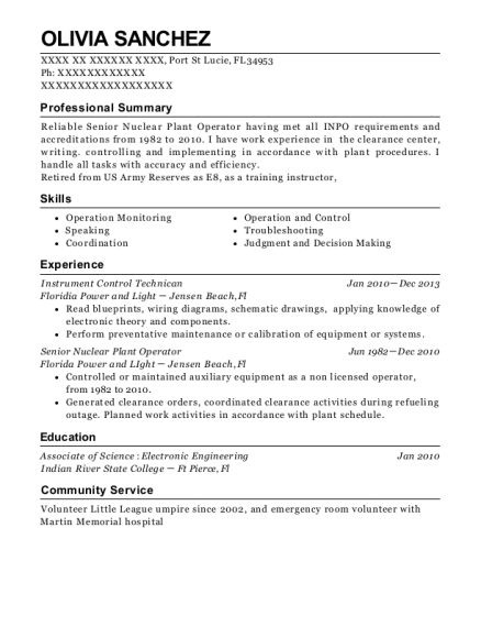 Instrument Control Technican resume sample Florida