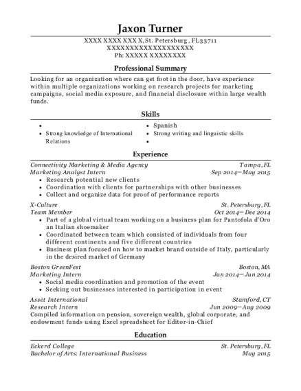 Marketing Analyst Intern resume format Florida