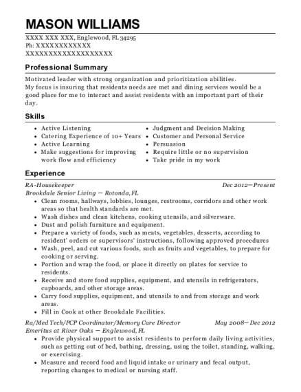 RA Housekeeper resume example Florida