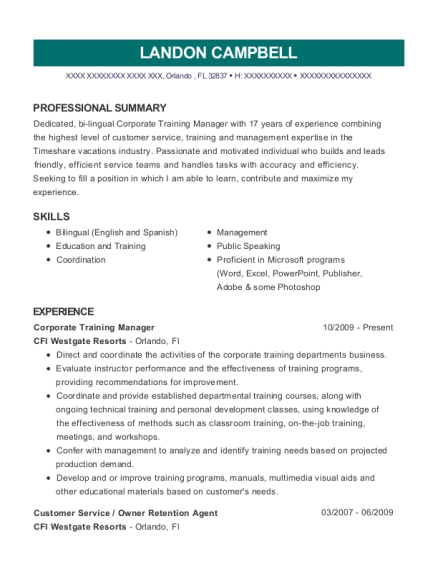 Corporate Training Manager resume format Florida