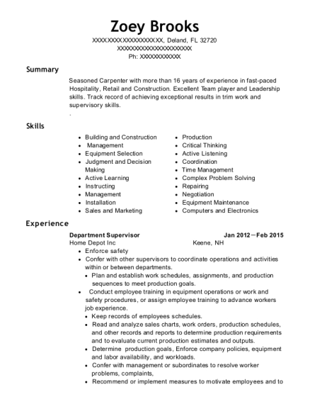 Department Supervisor resume sample Florida