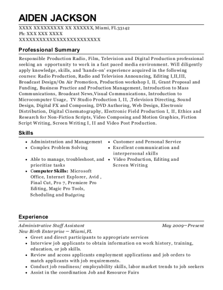 Administrative Staff Assistant resume example Florida