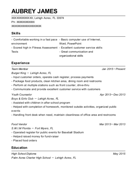 Team Member resume sample Florida
