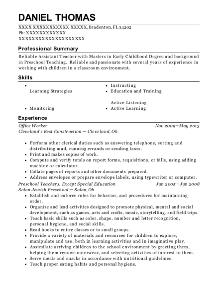 Office Worker resume sample Florida