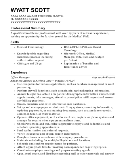 Office Manager resume sample Florida