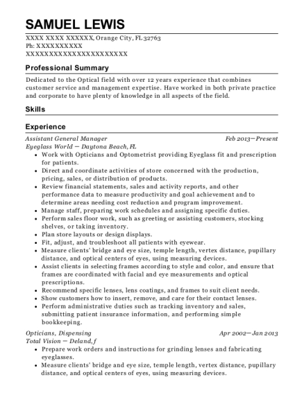 Assistant General Manager resume format Florida
