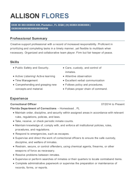 Correctional Officer resume example Florida