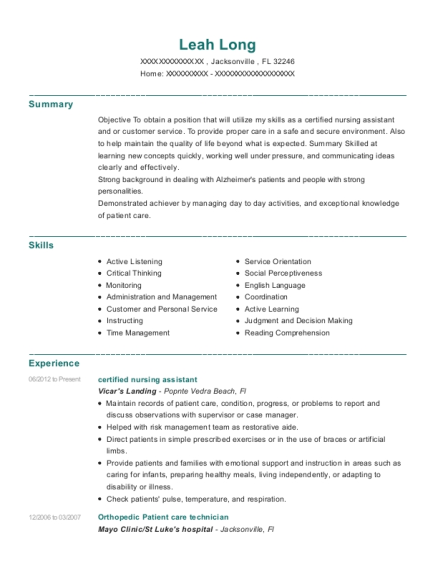 certified nursing assistant resume template Florida
