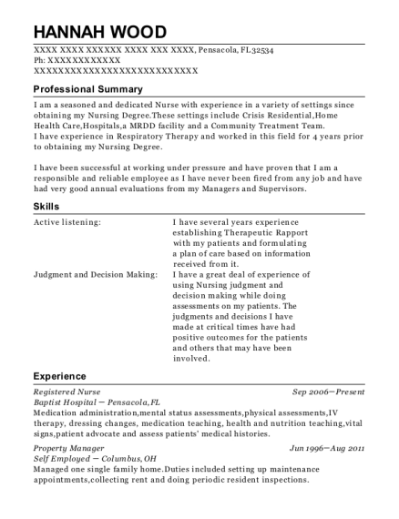 Registered Nurse resume example Florida