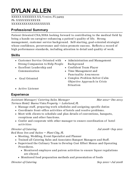 Assistant Manager resume format Florida