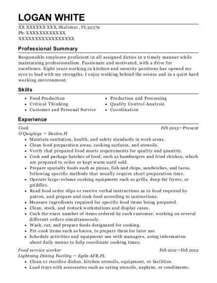Cook resume format Florida