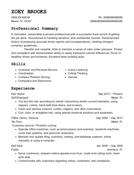Hair Stylist resume template Florida