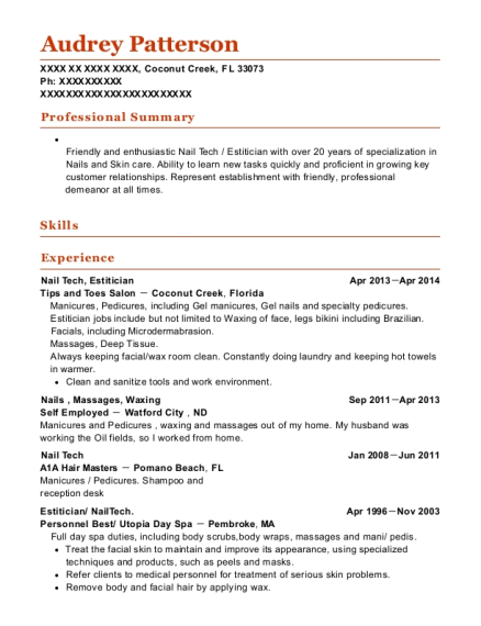 Nail Tech resume sample Florida