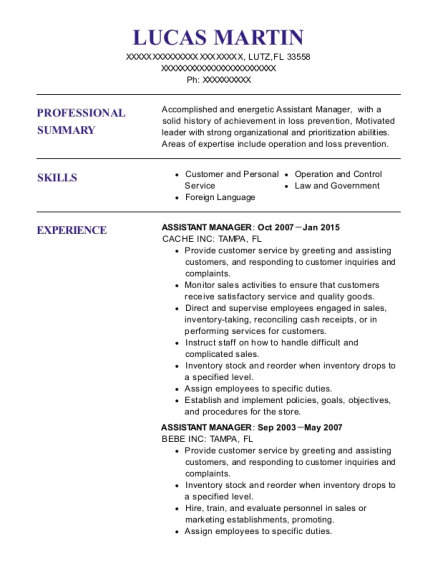 Assistant Manager resume sample Florida