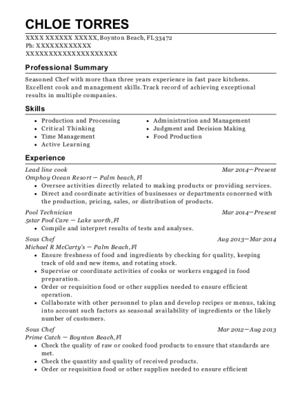 Lead line cook resume example Florida