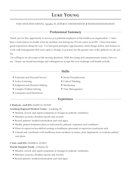 4 Medical staff RN resume format Florida