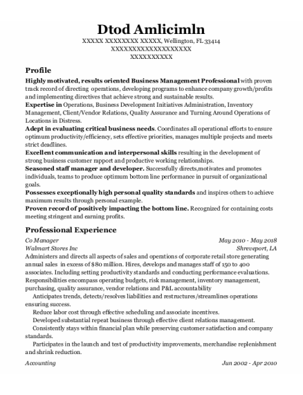 Co Manager resume sample Florida