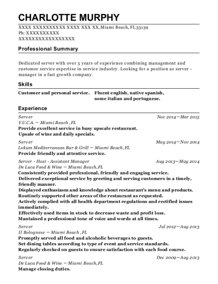 Server resume template Florida