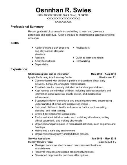 Child Care Giver resume template Florida
