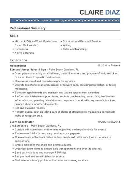 Receptionist resume sample Florida
