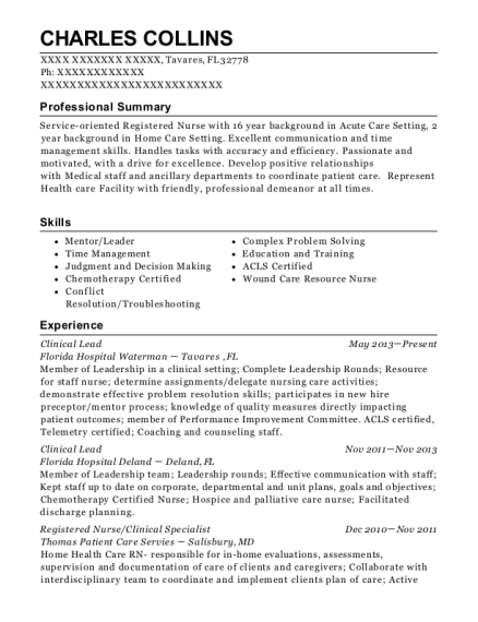 Clinical Lead resume format Florida