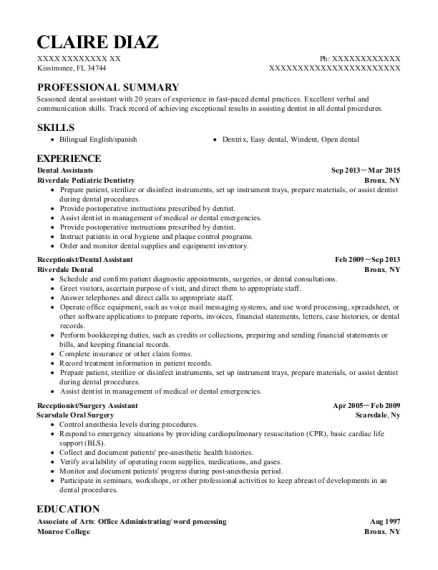 Dental Assistants resume example Florida