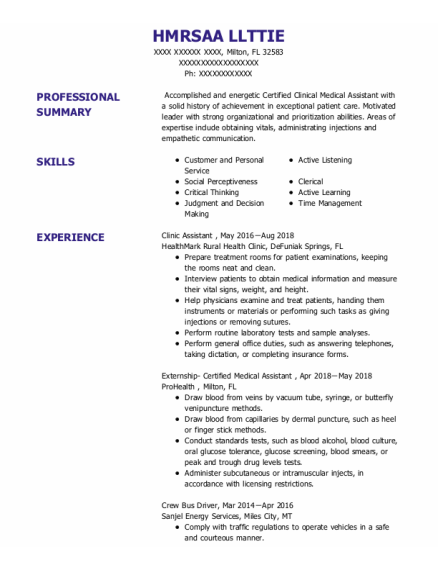 Clinic Assistant resume format Florida