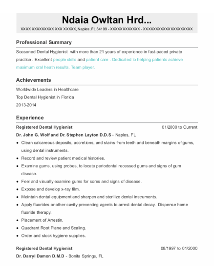 Registered Dental Hygienist resume example Florida