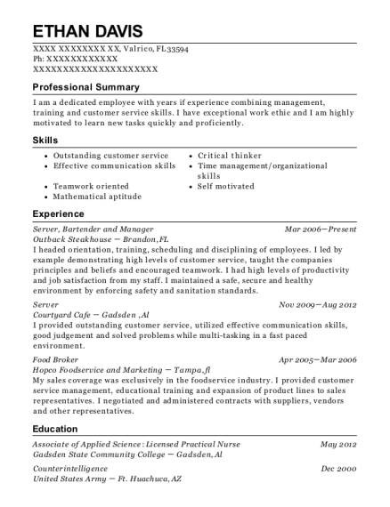 Server resume sample Florida