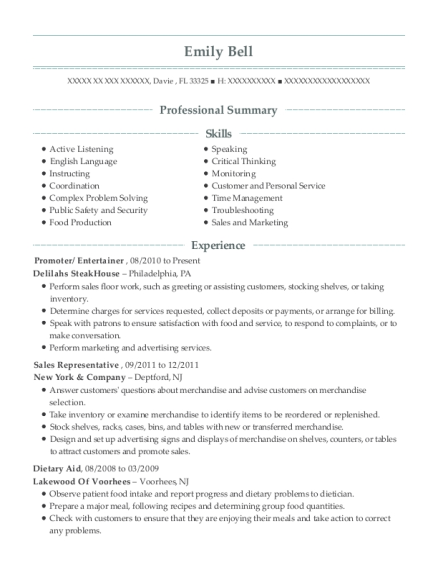 Promoter resume example Florida
