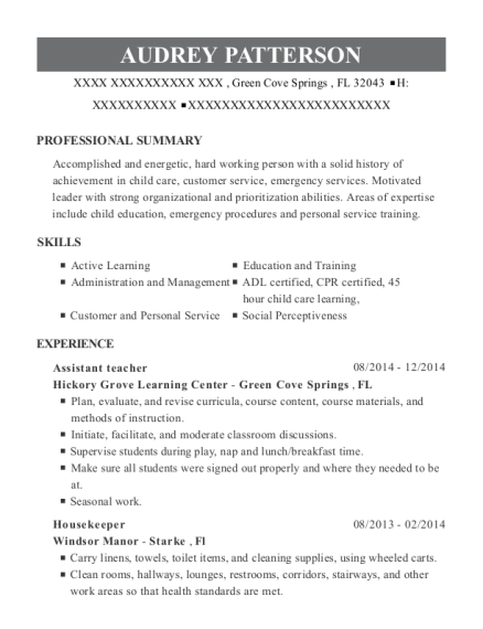 Assistant teacher resume example Florida
