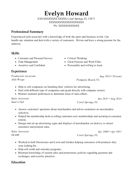 Production Associate resume example Florida