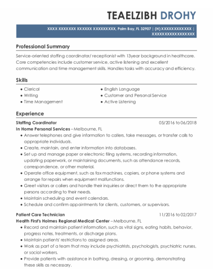 STAFFING COORDINATOR resume template Florida