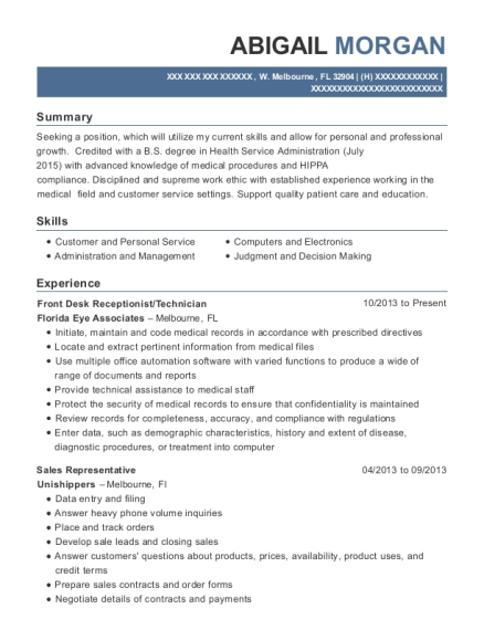 Front Desk Receptionist resume example Florida