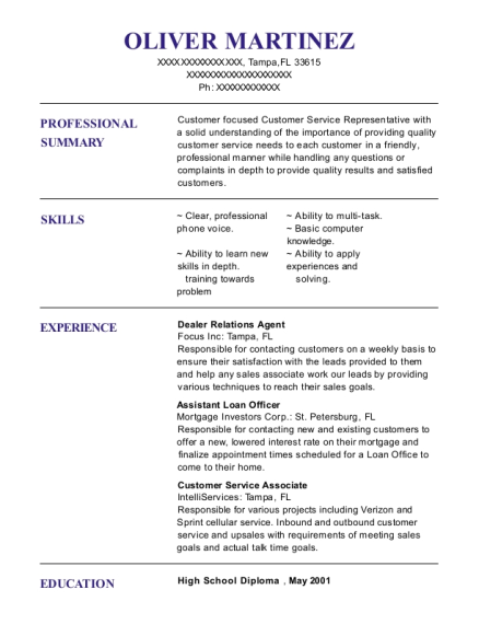 Dealer Relations Agent resume format Florida
