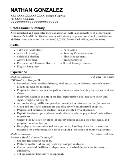 Medical Assistant resume sample Florida