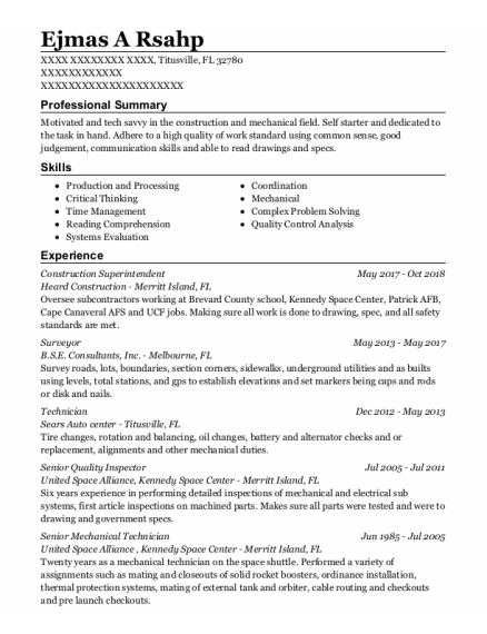 Construction Superintendent resume template Florida