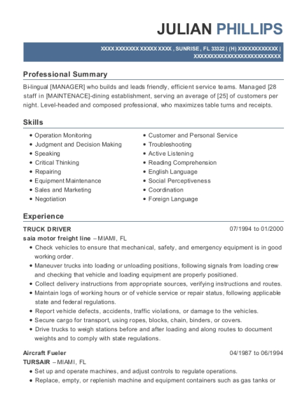 Truck Driver resume sample Florida