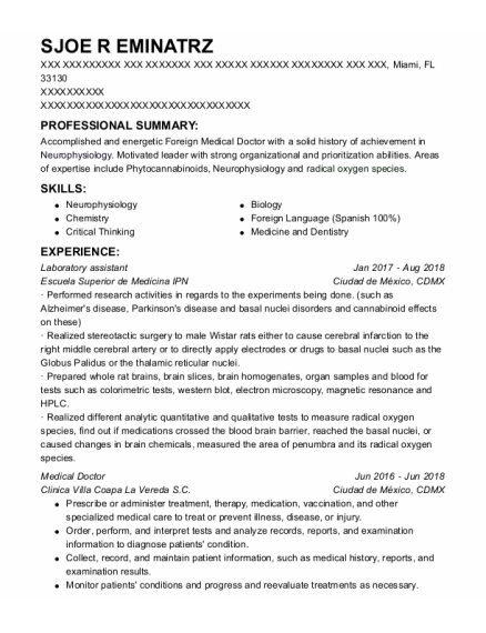 Laboratory Assistant resume sample Florida