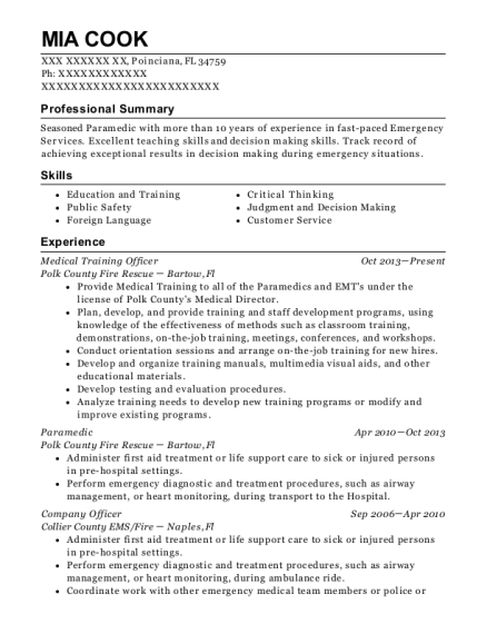 Medical Training Officer resume example Florida