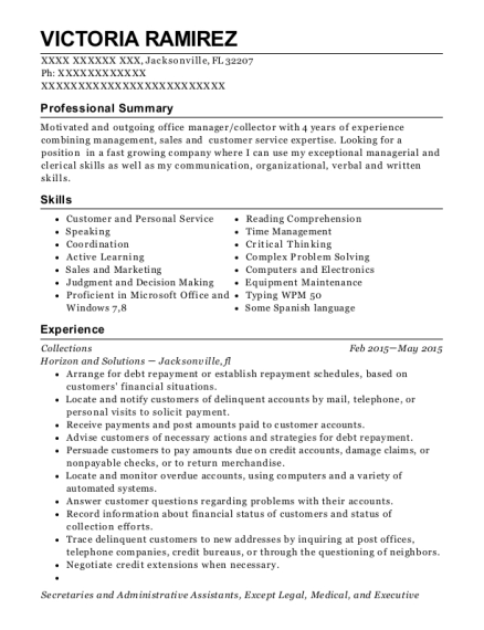 Collections resume template Florida